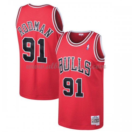 fd631c6d2 Camisetas Baloncesto NBA Chicago Bulls Mens 1997-98 Dennis Rodman 91  Red  Hardwood Classics