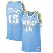 Camisetas Baloncesto NBA Denver Nuggets Mens 2003-04 Carmelo Anthony 15# Light Blue Hardwood Classic..