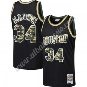 Camisetas Baloncesto NBA Houston Rockets 1993-94 Hakeem Olajuwon 34# Negro Straight Fire Camo Swingm..