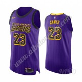 Camisetas NBA Niños Los Angeles Lakers 2019-20 LeBron James 23# Púrpura City Edition Swingman
