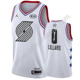 Camisetas NBA Baratas Portland Trail Blazers 2019 Damian Lillard 0# Blanco All Star Game Swingman