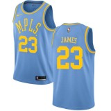 Camisetas Baloncesto NBA Los Angeles Lakers 2018 LeBron James 23# Light Blue Hardwood Classics